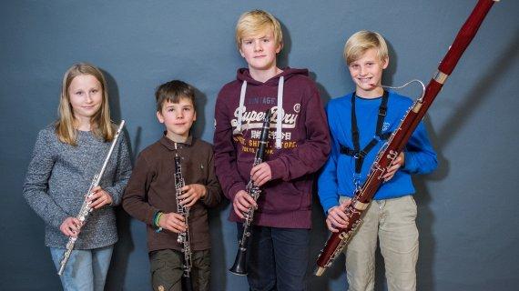 Fløjte, obo, klarinet, fagot