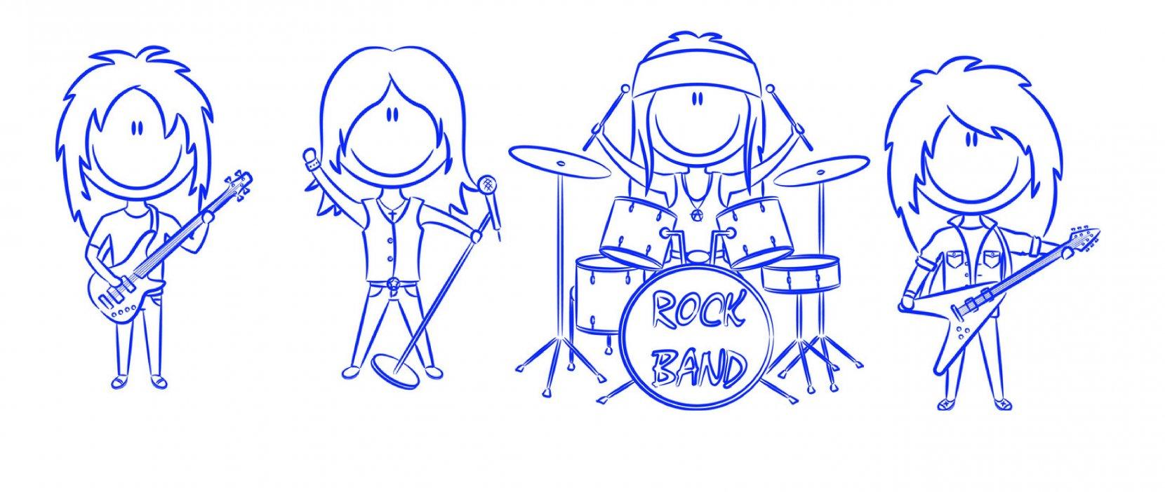 Tegning af Rockband