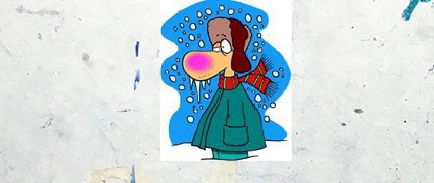 tegning af frysende mand